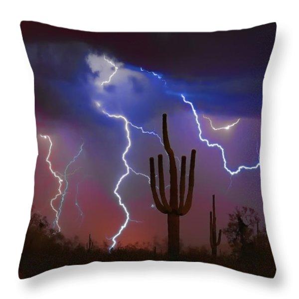 Saguaro Lightning Nature Fine Art Photograph Throw Pillow by James BO  Insogna