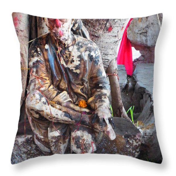 Sai Baba - Resting at Pushkar Throw Pillow by Agnieszka Ledwon