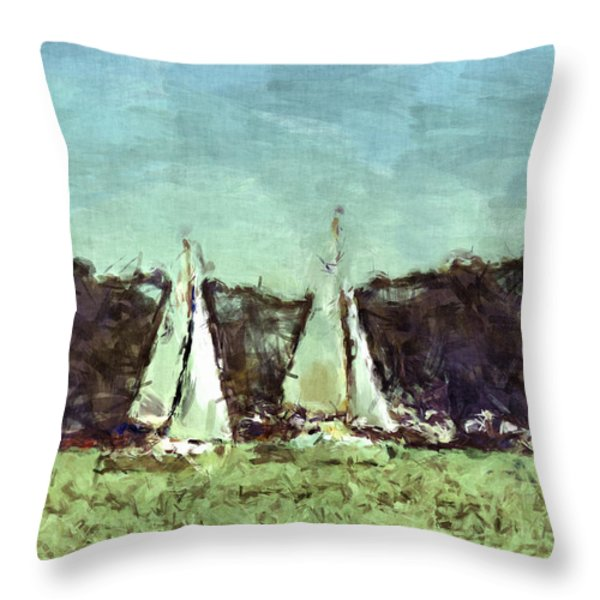 Sail Away Throw Pillow by Susan Leggett