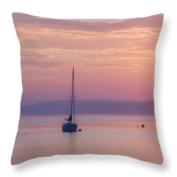 Sailboat at Sunrise in Casco Bay Maine Throw Pillow by Diane Diederich
