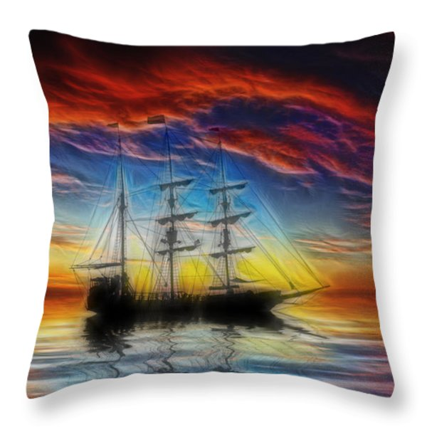 Sailboat Fractal Throw Pillow by Shane Bechler