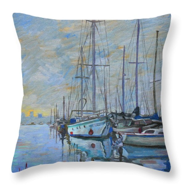 Sailboat In The Evening Fog Throw Pillow by Dominique Amendola