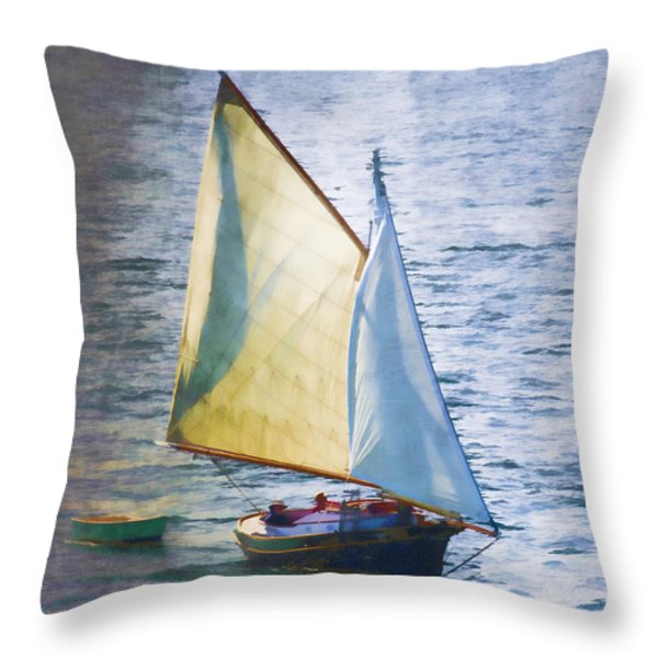 Sailboat Off Marthas Vineyard Massachusetts Throw Pillow by Carol Leigh