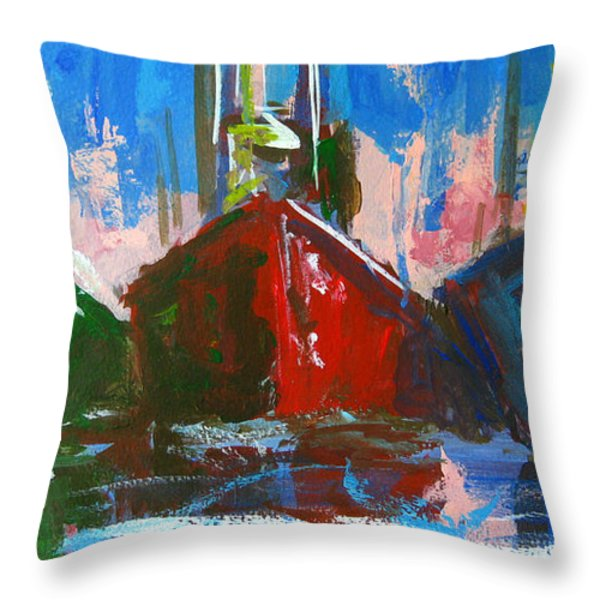 Sailboat Throw Pillow by Patricia Awapara