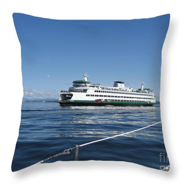 Sailboat Sees Ferryboat Throw Pillow by Kym Backland