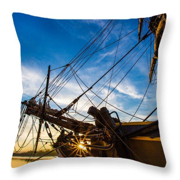 Sailboat Sunrise Throw Pillow by Robert Bynum