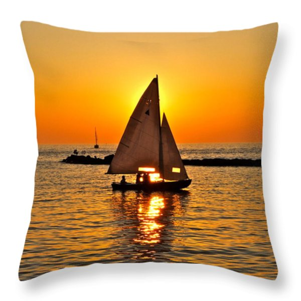 Sailboat Sunset Throw Pillow by Frozen in Time Fine Art Photography