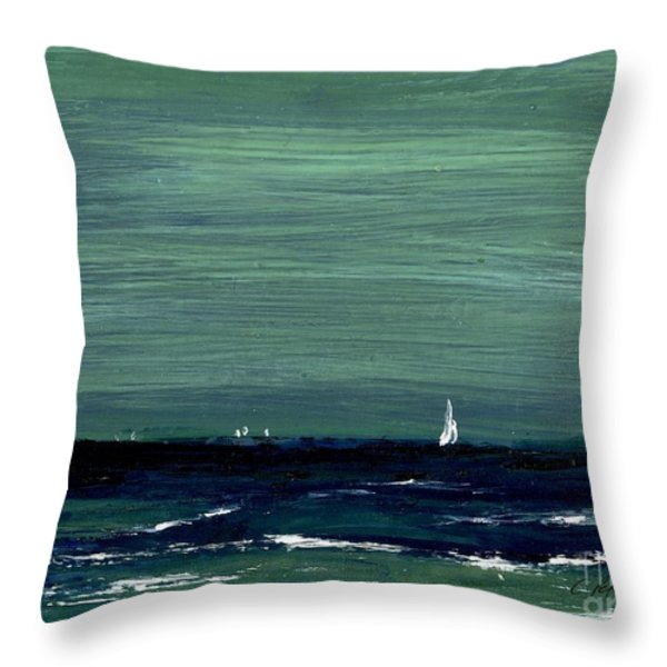 Sailboats Across A Rough Surf Ventura Throw Pillow by Cathy Peterson