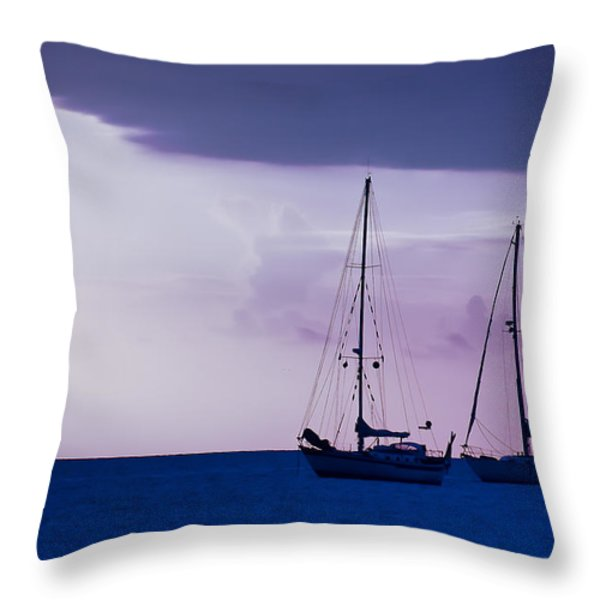 Sailboats At Sunset Throw Pillow by Don Schwartz
