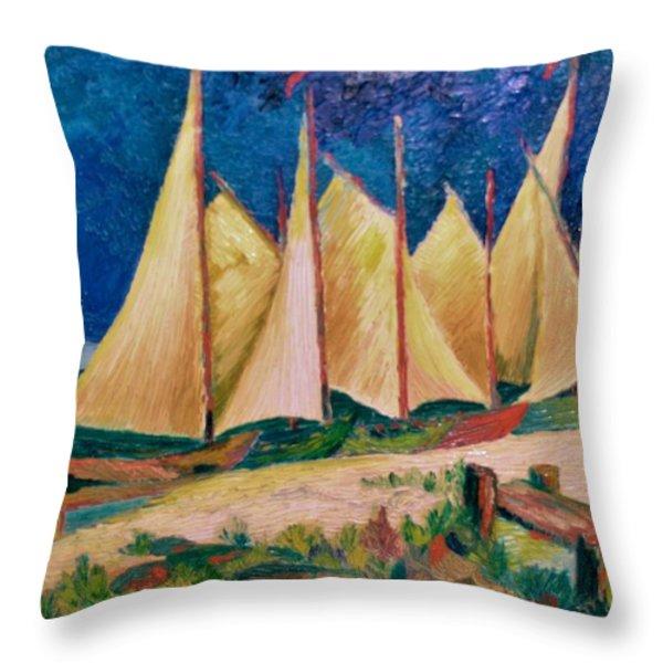 SAILBOATS Throw Pillow by Gunter  Hortz