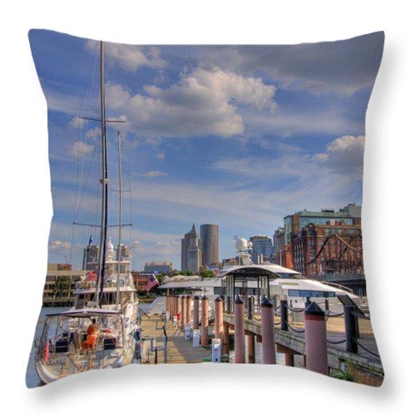 Sailboats in Constitution Marina - Boston Throw Pillow by Joann Vitali