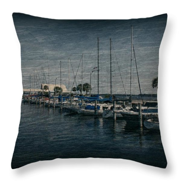 Sailboats Throw Pillow by Sandy Keeton