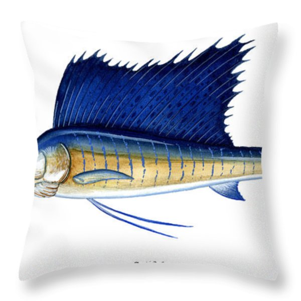 Sailfish Throw Pillow by Charles Harden