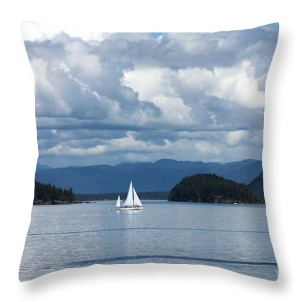 Sailing In The San Juans Throw Pillow by Carol Groenen
