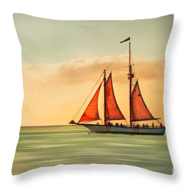 Sailing Into The Sun Throw Pillow by Hannes Cmarits