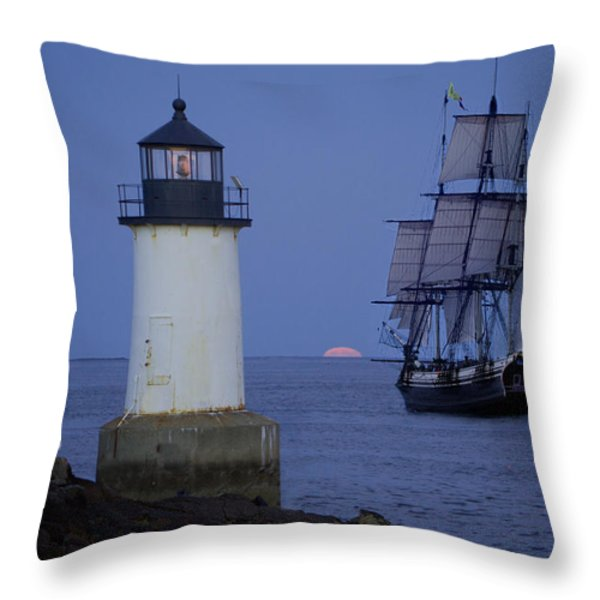Sailing out for the red moon Throw Pillow by Jeff Folger