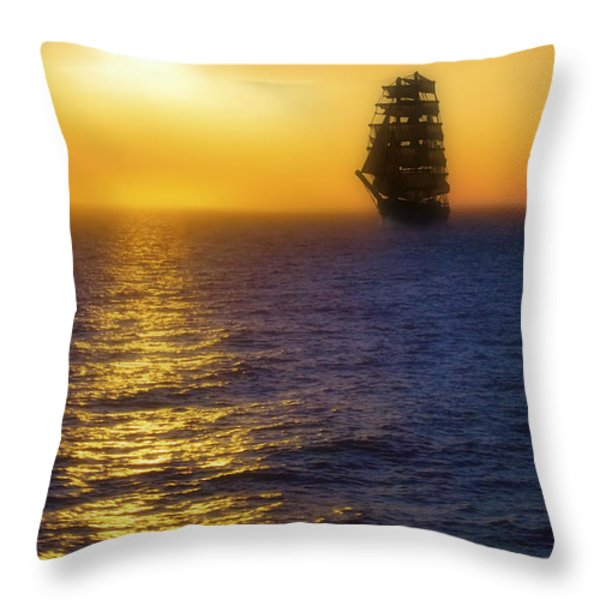 Sailing Out Of The Fog At Sunrise Throw Pillow by Jason Politte