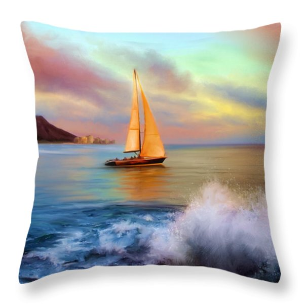 Sailing Past Waikiki Throw Pillow by Dale Jackson