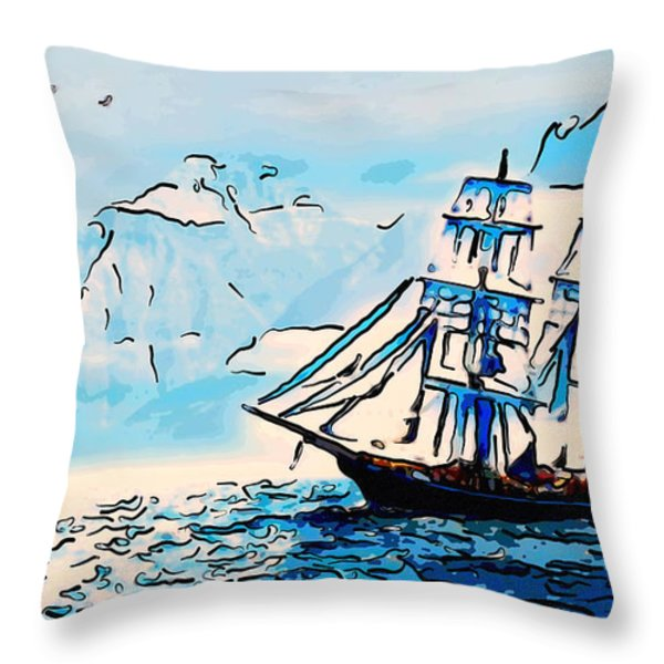 Sailing South 3 Throw Pillow by MotionAge Designs