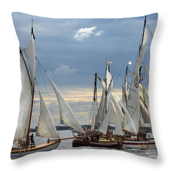 Sailing the Limfjord Throw Pillow by Robert Lacy
