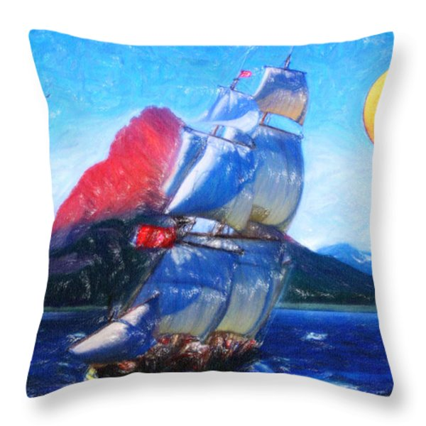 Sailing Towards High Peaks Crayon Throw Pillow by MotionAge Designs