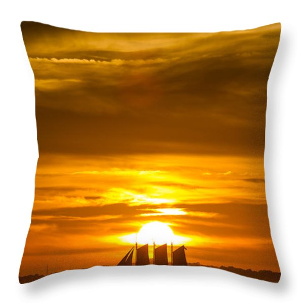 Sailing Yacht Schooner Pride Sunset Throw Pillow by Dustin K Ryan