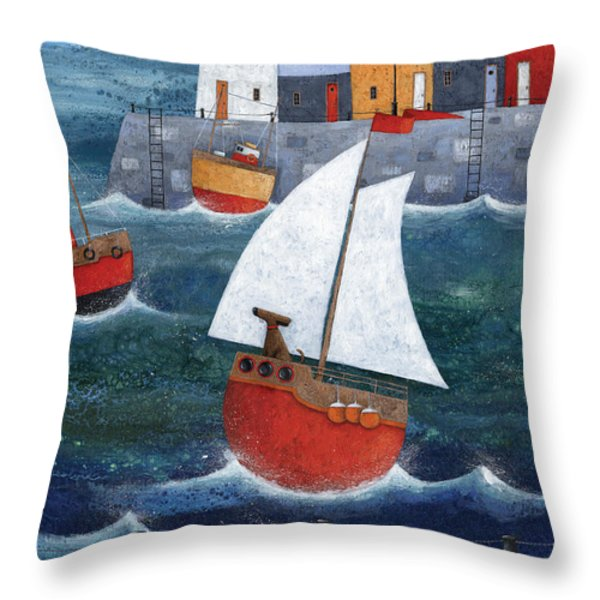 Sailor Dog Throw Pillow by Peter Adderley