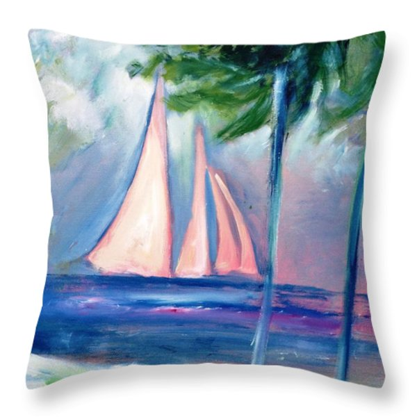 Sails In The Sunset Throw Pillow by Patricia Taylor