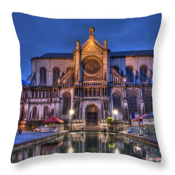 Saint Catherine Church. Brussels Throw Pillow by Juli Scalzi