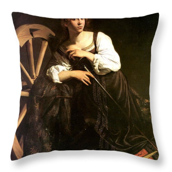 Saint Catherine of Alexandria Throw Pillow by Caravaggio