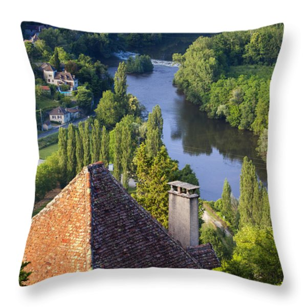 Saint Cirq Lapopie Throw Pillow by Brian Jannsen
