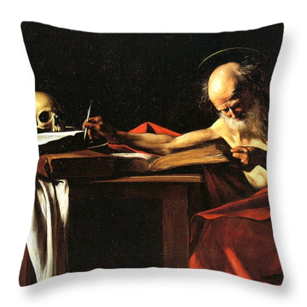 Saint Jerome Writing Throw Pillow by Caravaggio