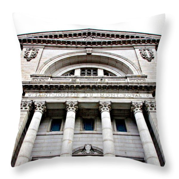 Saint Joseph du Mont Royal Facade Throw Pillow by Valentino Visentini