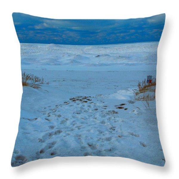 Saint Joseph Michigan Beach In Winter Throw Pillow by Dan Sproul