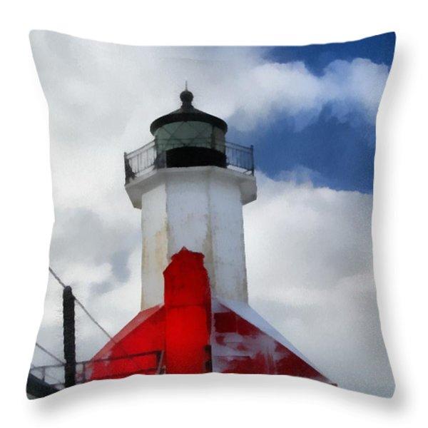 Saint Joseph Michigan Lighthouse Throw Pillow by Dan Sproul