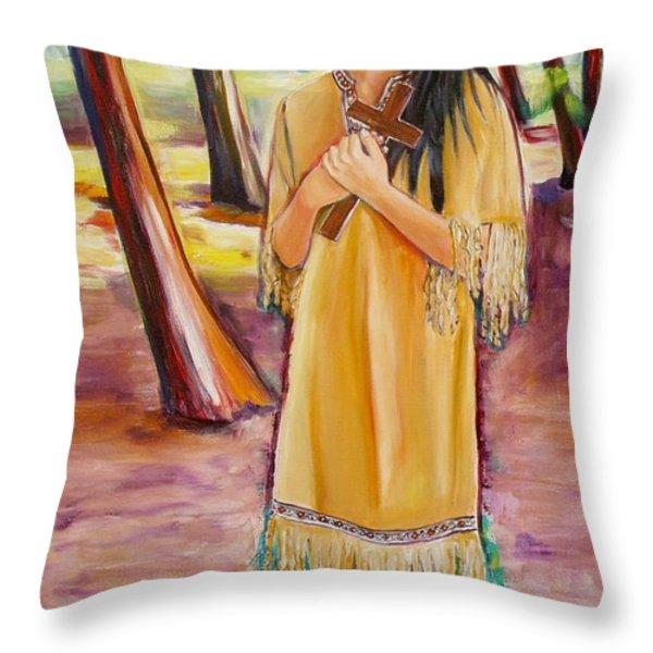 Saint Kateri Tekakwitha Version One Throw Pillow by Sheila Diemert