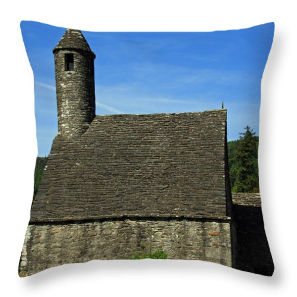Saint Kevin's Church Throw Pillow by Aidan Moran