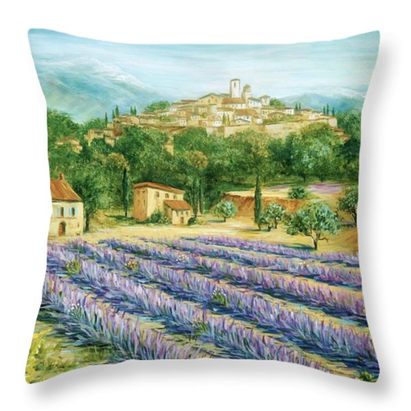 Saint Paul de Vence and Lavender Throw Pillow by Marilyn Dunlap