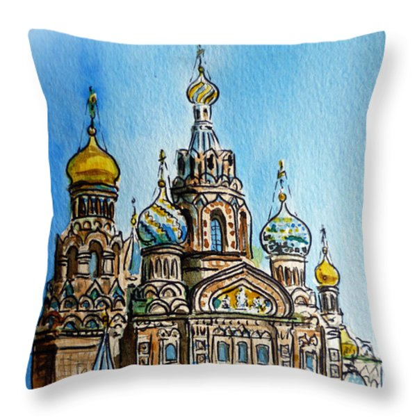 Saint Petersburg Russia The Church of Our Savior on the Spilled Blood Throw Pillow by Irina Sztukowski