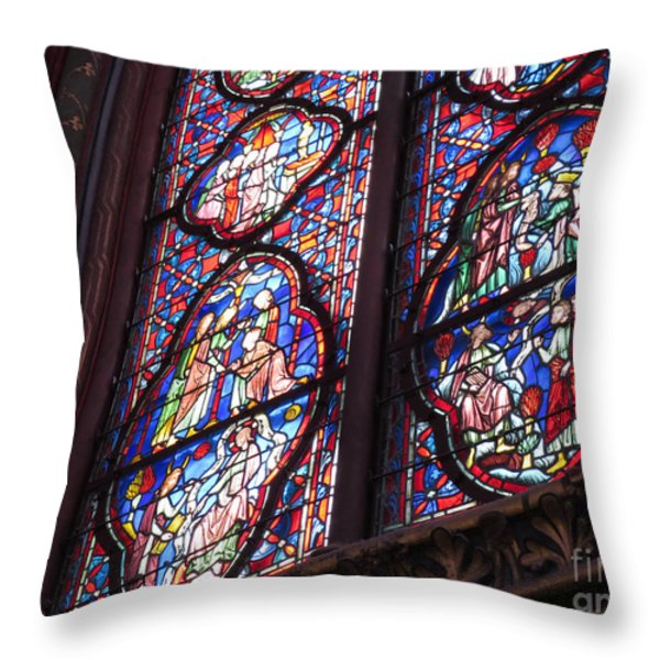 Sainte-Chapelle Window Throw Pillow by Ann Horn