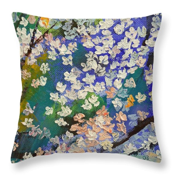 Sakura Oil Painting Throw Pillow by Michael Creese