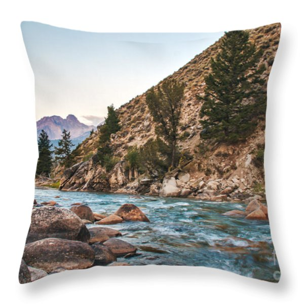 Salmon River In The Twilight Throw Pillow by Robert Bales