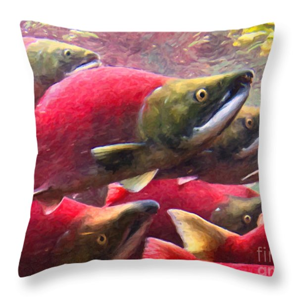 Salmon Run - Painterly Throw Pillow by Wingsdomain Art and Photography
