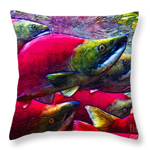 Salmon Run Throw Pillow by Wingsdomain Art and Photography
