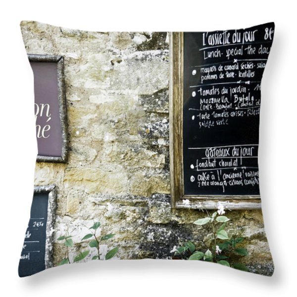 Salon De The - French Menu Signs Throw Pillow by Nomad Art And  Design