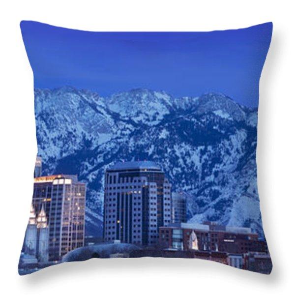 Salt Lake City Skyline Throw Pillow by Brian Jannsen