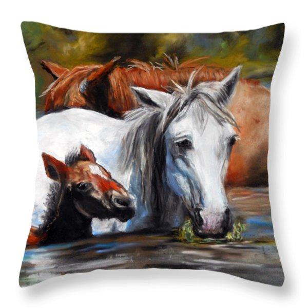 Salt River Foal Throw Pillow by Karen Kennedy Chatham
