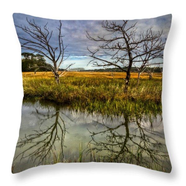 Salty Marsh At Jekyll Island Throw Pillow by Debra and Dave Vanderlaan