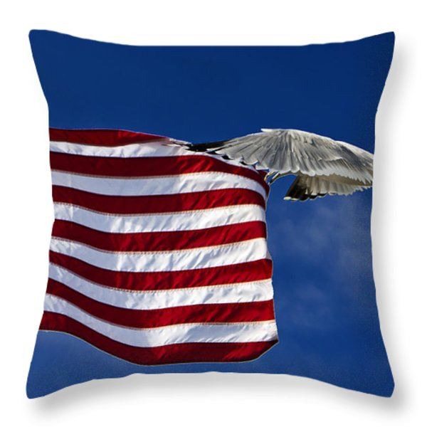 Salute The Flag Throw Pillow by Tim Wilson