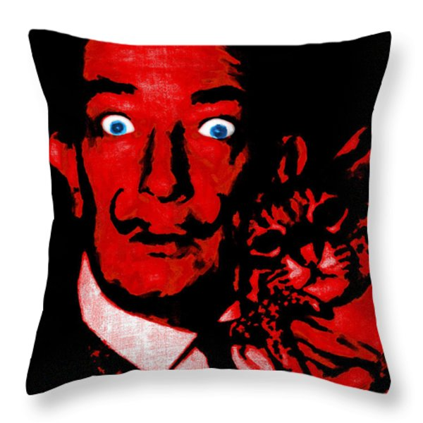 Salvador Dali and Friend 20130212v2 Throw Pillow by Wingsdomain Art and Photography